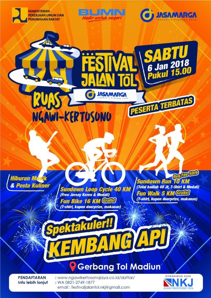 """""""Sundown Loop"""" Festival Jalan Tol Jasa Marga Ruas Ngawi-Kertosono akan jadi rangkaian pembukaan salah satu bagian Ruas dari Proyek Strategis Nasional Trans Jawa."""